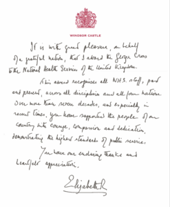 Letter from Her Majesty the Queen Elizabeth II awarding the George Cross to the NHS