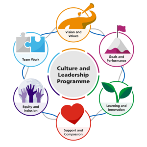 Six circular images are arranged in a circle around a central circle titled culture and leadership programme. Vision and values is represented by a person with a telescope in orange. Goals and performance is represented by a mountain with a flag on top in pink. Learning and innovation is represented by two new shoots/leaves in green. Support and compassion is a heart in red. Equity and inclusion shows three hands reaching up, in three different sizes and shades of purple with a globe behind them. Team work is shown with a grey and a light blue puzzle piece. The six cultural elements are connected with grey and blue interweaving lines.