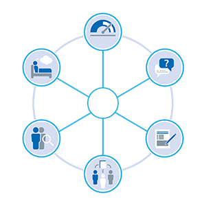 Blue and white graphic depicting the six diagnostic tools as a wheel