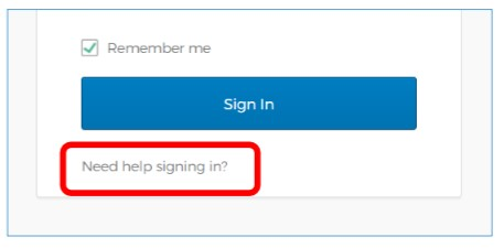 This image accompanies question 26. It shows you how to rest your password: go to the login screen - the link to this is https://nhsi.okta-emea.com/ - and click on 'need help signing in'.