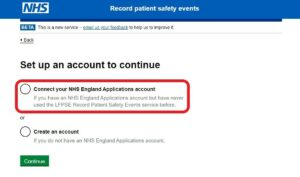 This image accompanies question 31. It shows you how to connect your NHS England Applications account to the LFPSE web application, when you are accessing this for the first time: click on the 'Connect your NHS England Applications account within the LFPSE application'. If the problem persists, please contact the IT helpdesk itservicedesk@nhseandi.nhs.uk for assistance.