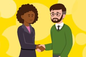 Image to accompany the 'Looking after your career' coaching offer. The image shows a woman and a man shaking hands – one of these people is a coach and the other person is a coachee