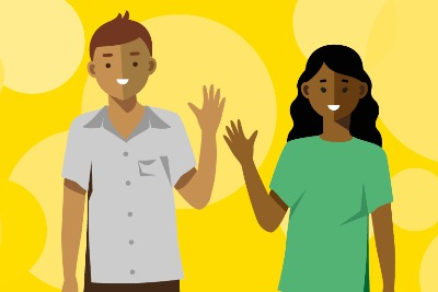 This image accompanies the Looking after you too coaching offer. The images show two people who are waving