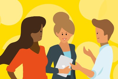 This image accompanies the 'Looking after your team' support offer. The image shows three people talking – one of these is a team leader and the other two are team members