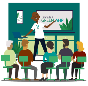 Cartoon image of a group of people in a classroom